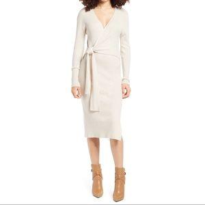 Leith Long Sleeve Sweater Wrap Dress Tan Beige